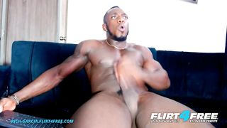 Rich Garcia on Flirt4Free - Ripped Ebony Stud Jerks off BBC and Rubs Cum all over his Muscles